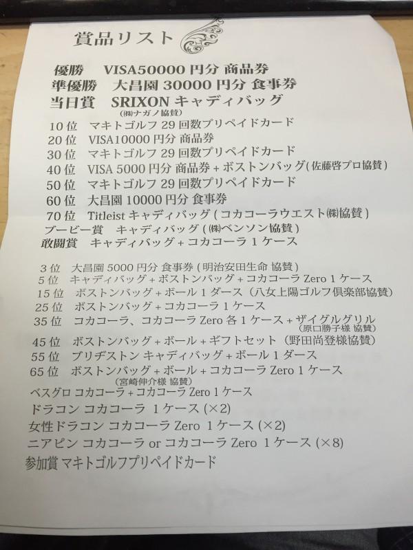 マキトゴルフガーデンコンペ賞品